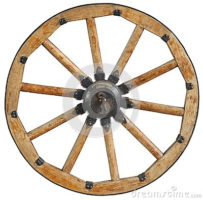Classic old antique wooden wagon wheel rim spoke with black metal brackets and rivets. Traditional cannon wheel isolated on white.
