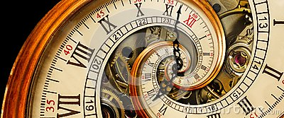 Antique old clock abstract fractal spiral. Watch classic clock mechanism unusual abstract texture fractal pattern background. Old