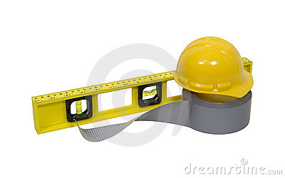 Hard hat duct tape and level
