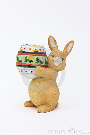 Easter rabbit with egg of clay