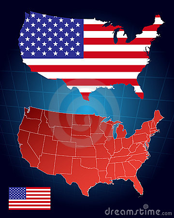 America maps and flag