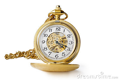 Beautiful pocket clock in gold