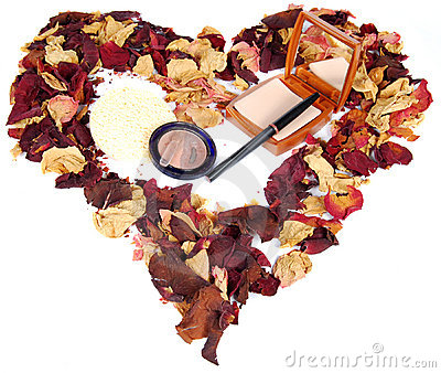 Dried rose petals and cosmetics