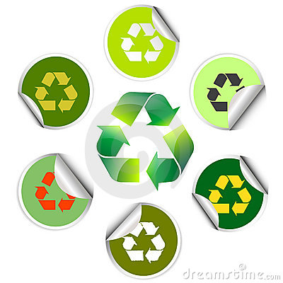 Recycle icon and sticker collection
