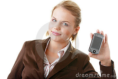 Attractive business woman using a pda