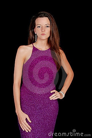 Brunette wearing a purple dress