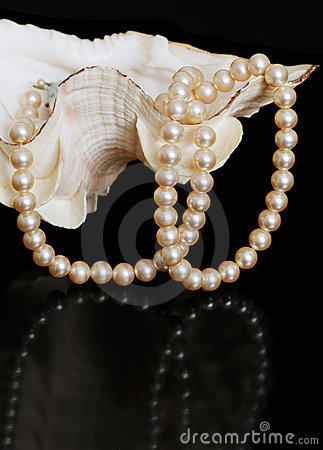 Pearl necklace in sea shell