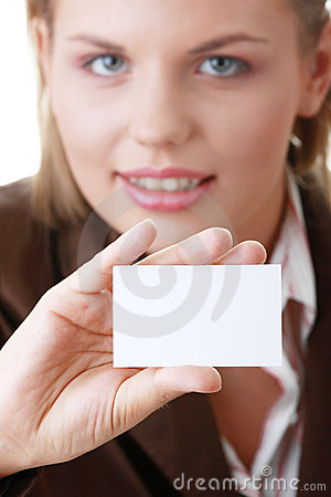 Lady with blank business card