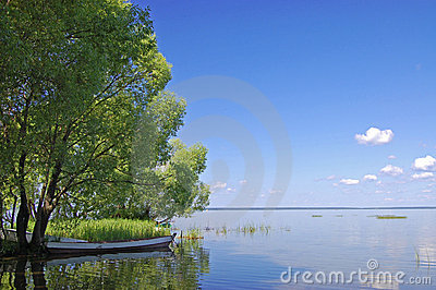 Fishing boat at lake in Pereslavl. Russia