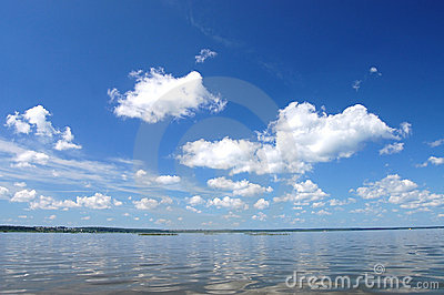 Cloud over water, lake Plesheevo, Russia