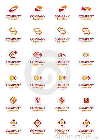 Set of vector corporate arrow logo symbols