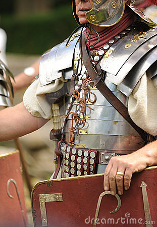Roman soldier holding shield
