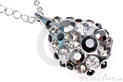 Diamond pendant jewellery closeup