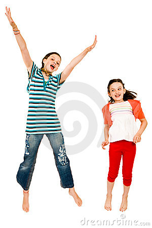 Excited girls jumping