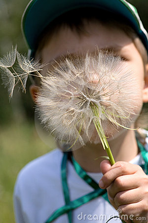 Close-up of young boy blowing away
