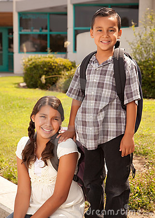 Cute Hispanic Brother and Sister Ready for School