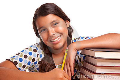 Pretty Smiling Hispanic Girl Studying