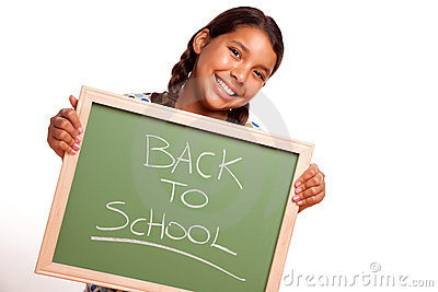 Pretty Hispanic Girl Holding Chalkboard with Back
