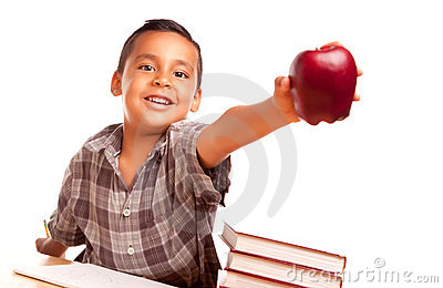 Adorable Hispanic Boy with Books, Apple, Pencil an