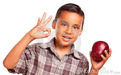 Hispanic Boy with Apple and Okay Hand Sign