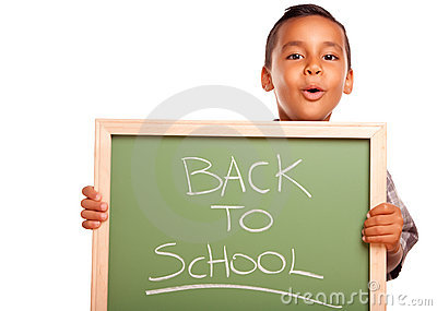 Cute Hispanic Boy Holding Chalkboard with Back to