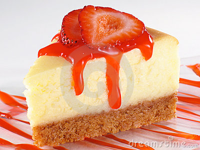 Cheesecake and Strawberry Sauce