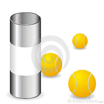 Tennis balls with can