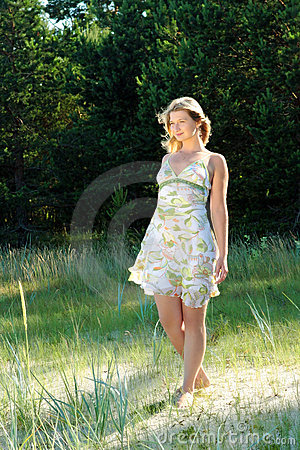 Girl in the summer clothes
