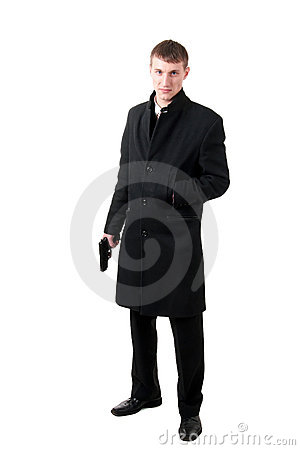 Men in formal wear with gun