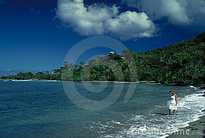 Tropical Beach with Woman in White Dress