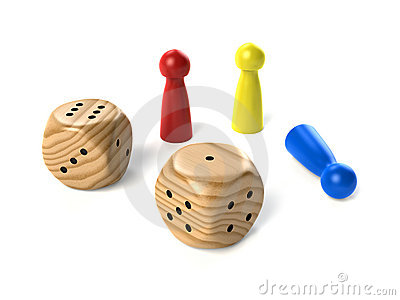 Two wooden dices with board game figures