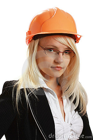 Young attractive female engineer