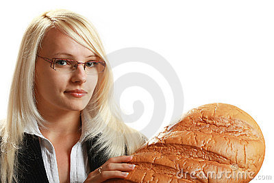 A young attractive business woman with big bread