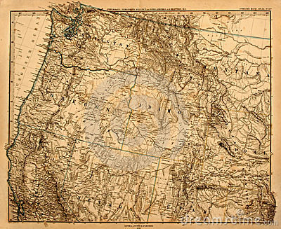 Old map of America's Pacific Northwest.