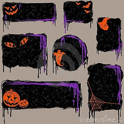Collection of grungy halloween design elements
