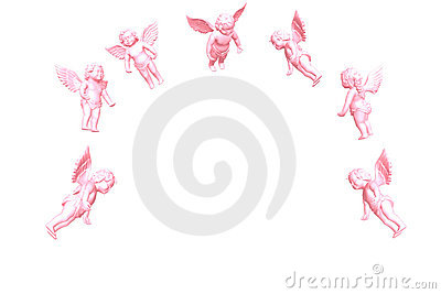 Pink Angel isolated on white 3D