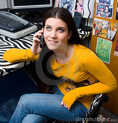 Teen girl talking on phone