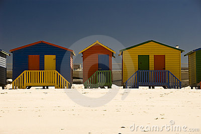 Group of beach huts