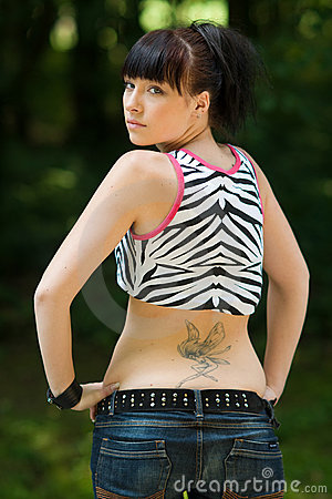 Teen girl with tattoo
