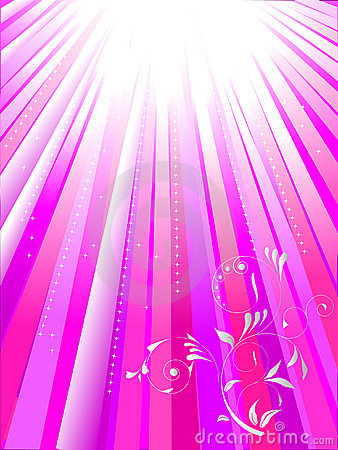 White rays on pink background