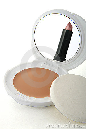 Cosmetics, mirror and lipstick