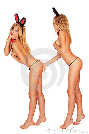 Two cute young bunny girls topless in black thong