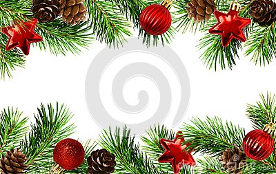 Holiday borders with Christmas tree twigs, cones, and balls