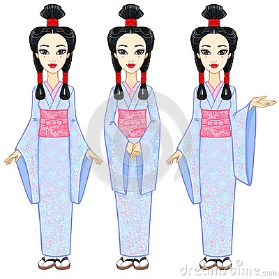 Animation portrait the beautiful Japanese girl in three different poses. Geisha, Maiko, Princess. Full growth.