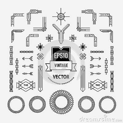 Set of vintage linear thin line art deco retro geometric shape