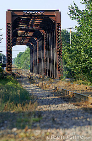 Train bridge on riviere des mille iles, Canada