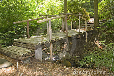 A wooden bridge in a Japanese garden