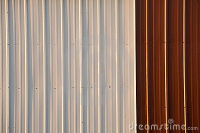 Stock Photo of a Corrugated Metal Red and White Background