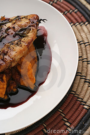 Veal, Pumpkin mash and red wine sauce