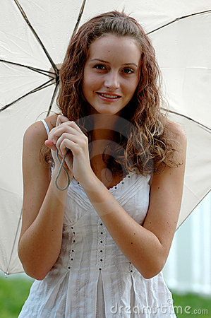 Teen with umbrella